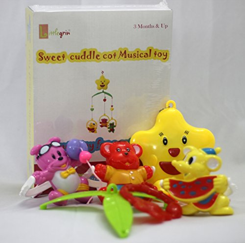 little grin Windup Sweet Cuddle Cot Cradle Musical Rattle 6 Pc Set For Infants Toddler New Born Gift Set Toy