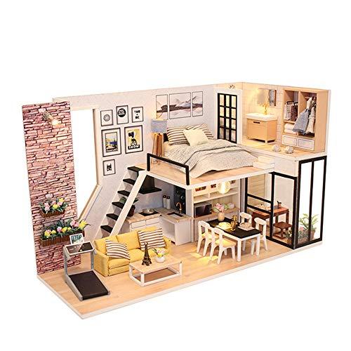 Haus Kit Diy House bringt Ihnen Glück Cover Manuelle Montage Modell Villa Kreative Holzspielzeug Geschenke Holz Puppenhaus mit Möbel und Accessoires, Lernspielzeug für Mädchen - Mi ()