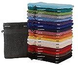 Betz Waschhandschuhe Set Waschlappen 100% Baumwolle Größe 16x21 cm mit Kordelaufhänger Premium Farbe anthrazit Grau