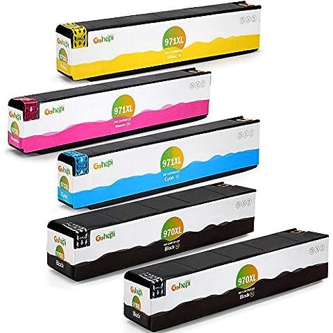 Gohepi Reemplazo para HP 970XL 971XL Cartuchos de tinta (2 Negro 1 Cian 1 Magenta 1 Amarillo) Alta Capacidad Compatible con HP Officejet Pro X576dw X551dw X476dw X451dn X451dw X476dn