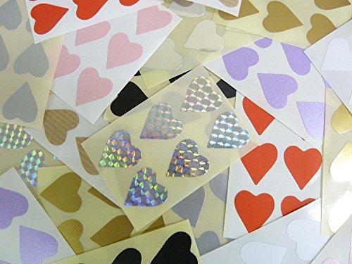 132 Etiquetas , 22x20mm Corazones , Varios Colores , Código De Color Adhesivos , auta-Adhesivo adhesivo Teñido corazones