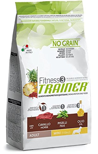 Trainer (Nova Foods) - Fitness 3 No Grain Adult Mini con Cavallo, Piselli e Olio Sacco 2,00 kg