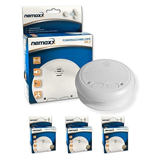 3x Nemaxx WL2 Funkrauchmelder ★ hochwertiger Rauchmelder Brandmelder Set Funk koppelbar vernetzt ★ nach DIN EN 14604
