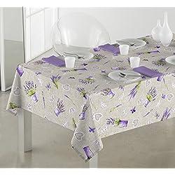 Sabanalia - Mantel de tela antimanchas Lavanda (disponible en varias medidas) - 140 x 200