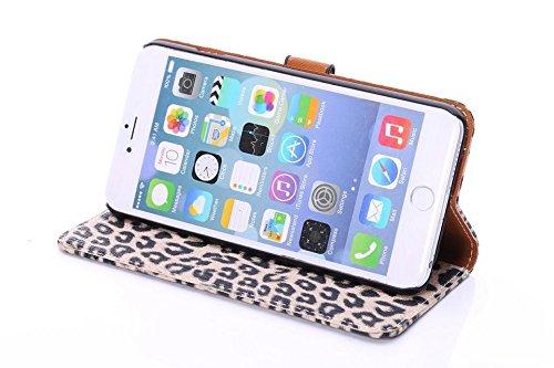 EKINHUI Case Cover Leopard Print Style Premium Leder Tasche Folio Flip Stand Case mit Card Slots & Handschlaufe & Magnetverschluss für IPhone 6 & 6s Plus ( Color : White ) Brown