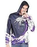 Sankill Sudaderas con capucha de la galaxia de Los hombres HD colorido 3D imprimieron el suéter Unisex de la manga de Harajuku encapuchada (L/XL, Purple waves)