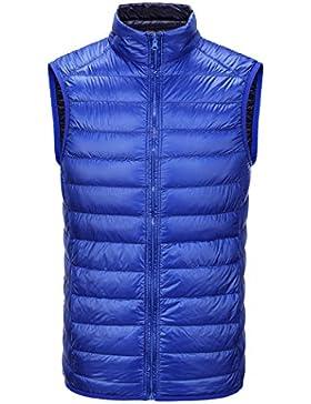 Macho chaquetas de down chaleco la recta cuello breve párrafo abrigo cremallera mantener caliente usar ropa de...