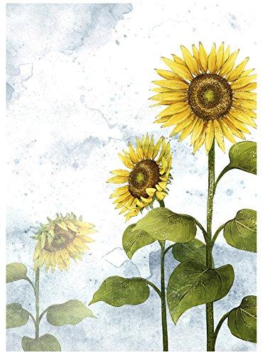 Acuarela Girasol pintura impresión Puerta cortina Bonito Flor de Oro