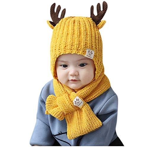 Cuteelf Kinder Cartoon Geweih Ohren Wolle Strickmütze + Lätzchen Zweiteilige Anzug Kleinkind Kind Winter häkeln Cartoon Hut Bohne Bohne Hut Schal Set süße warme Mütze