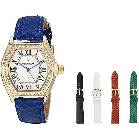Peugeot orologio da donna, placcato oro 14 k, 5 cinturini intercambiabili, con numeri romani, confezione regalo, set