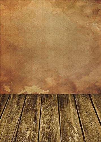 BuEnn Brown Holz Fotografie Kulissen Vinyl für Baby Foto Studio Retro Foto Hintergrund 5x7FT BJ201 (Blau Und Brown-baby-dusche)
