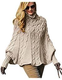 Mikos*Eleganter Damen Poncho Rollkragenpullover Damen Pullover Strickponcho Cape Zopfstickmuster Warm Herbst Pullover (641)
