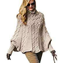 946c9be3bac860 Mikos Eleganter Damen Poncho Rollkragenpullover Damen Pullover Strickponcho  Cape Zopfstickmuster Warm Herbst Pullover (641)