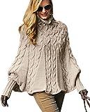 Mikos Eleganter Damen Poncho Damen Pullover Rollkragenpullover Strickponcho Cape Zopfstickmuster Warm Herbst Pullover (641) (Beige)