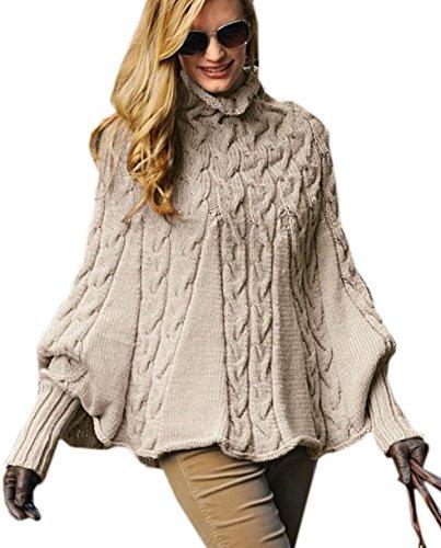Mikos*Eleganter Damen Poncho Damen Pullover Rollkragenpullover Strickponcho Cape Zopfstickmuster Warm Herbst Pullover (641) (Beige)