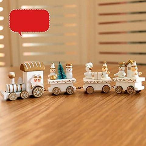 Xshuai 21x2.7x5cm Frohe Weihnachten Dekorationen Weihnachten Woods Kleine Zug Kinder Geschenk Kindergarten Festliche Xmas Decor (Multicolor A / B / C) (C)