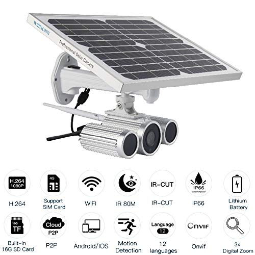 Preisvergleich Produktbild YKXY Solar Power WiFi 4G Kamera Starlight Nachtsicht Zwei Batterien 1080P Solar Power IP Kamera Mit 16G TF Karte