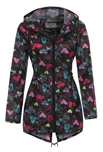SS7 - Impermeable mujer color corazón negro multi