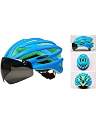 Magnética Casco de Ciclista Casco de carretera ajustable bici de montaña del casco de la bicicleta con gafas de protección UV avanzada lente PC (Azul)