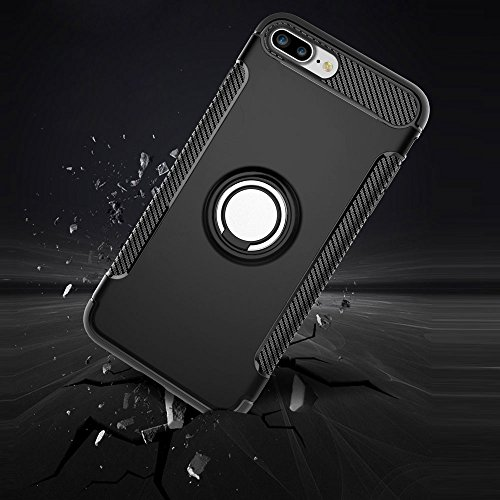 UKDANDANWEI Apple iPhone 8 Plus Hülle mit 360 Grad Full Body Ring Ständer, Hybrid Dual Layer Defender Handyhülle Case [Shock Proof] für Apple iPhone 8 Plus - Blau Schwarz