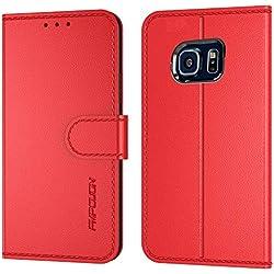 FMPCUON Coque Etui pour Samsung Galaxy S6 Edge (5.7 Pouces),Premium Protection Housse en Cuir PU Portefeuille Livre [Emplacements Cartes],[Fonction Support],[Languette Magnétique] Rouge