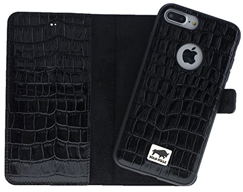 Solo Pelle iPhone 7 Plus / 8 Plus abnehmbare Lederhülle (2in1) inkl. Kartenfächer für das original iPhone 7 Plus / 8 Plus ( Vintage Lila ) inkl. Edler Geschenkverpackung Kroko-Schwarz