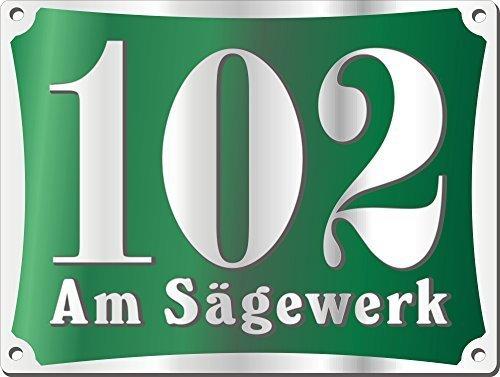 Preisvergleich Produktbild Hausnummerschild Edelstahl mit eigenem Text Neu Edelstahl Dunkelgrün m.Bohrung