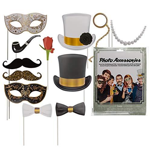 12er Set Party-Foto-Verkleidung ''Glamour'' auf Stick | Party Zubehör | Fotobox Requisiten | Fotoaccessoire Party | Foto Verkleidung Party | Geburtstagsparty Set | Geburtstag | Preis am Stiel