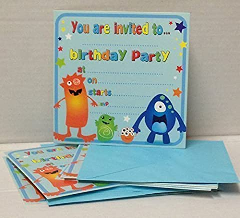 Arpan Boys or Girls Birthday Invitations Invite Party Cards With Envelopes Pack of 32 (Monster)