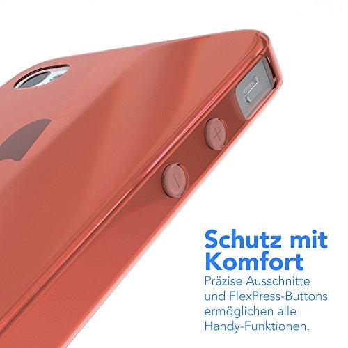 "EAZY CASE Handyhülle für Apple iPhone 4S, iPhone 4 Hülle - Premium Handy Schutzhülle Slimcover ""Clear"" - Transparentes Silikon Backcover in Klar / Durchsichtig Orange"