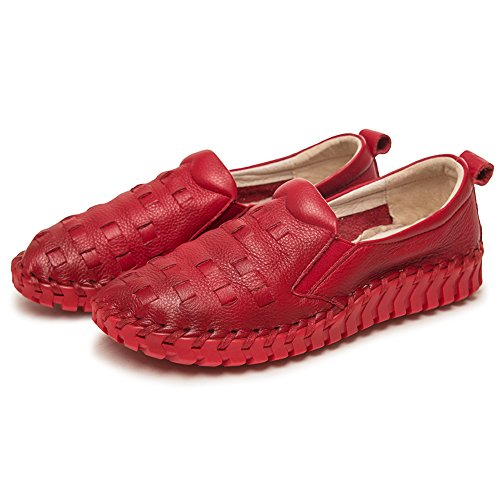Shenn Donna Scivolare Comfort Respirare Casuale Pelle Sneaker Scarpe Rosso