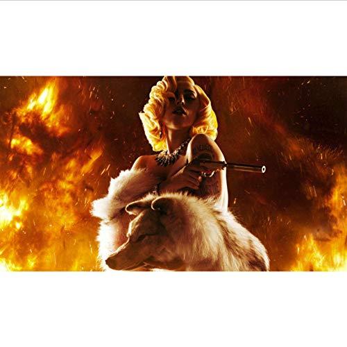 Mode Foto Tapete Gun & Wolf Wandbild Benutzerdefinierte Promi Tapete Schlafzimmer Kinderzimmer Kunst Raumdekor Shop Lady Gaga,250×175cm