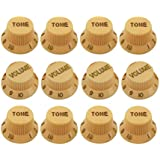 IKN Knob Sets Yellow Cream Volume Tone Guitar Knob Sets Strat Style Pack of 4sets