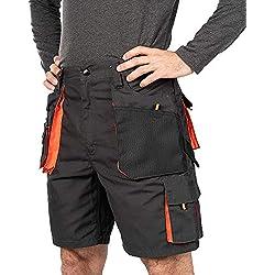 Shorts de Travail Homme, Cargo Shorts Hommes ete, Coton/Poly 260 GR, multipoche, Pantalon Cargo Homme, Grandes Tailles, Bermuda de Travail, Vetement ete (S, Noir/Orange)