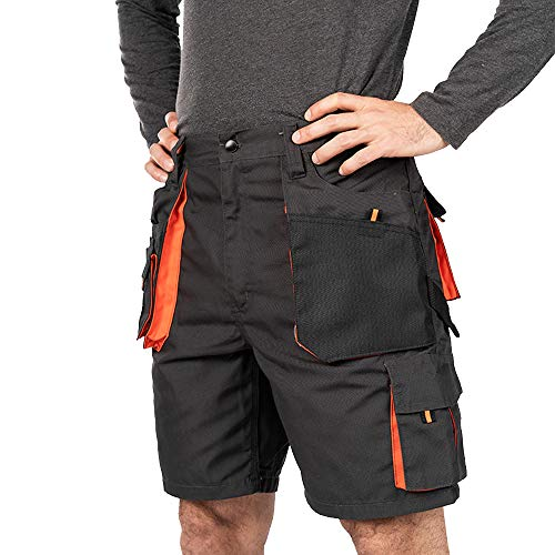 Pantaloni Corti Lavoro Uomo, Estivi Pantaloncini da Lavoro, Taglie Grandi Fino S-3XL, Multi Tasche, Bermuda da Lavoro, Abbigliamento Uomo (M, Nero/Arancione)