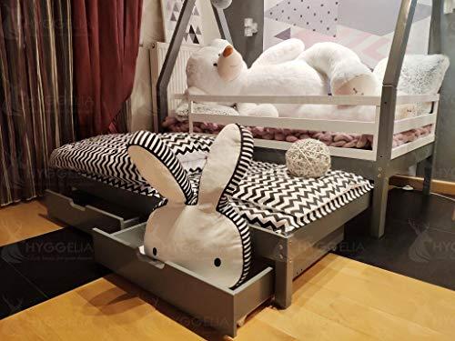 Imagen para Cama TIPI con barreras, segunda cama y dos cajones, cama de la casa, cama para niños, para adolescentes, cama de cabaña, madera (90 x 190cm (Twin Size), Madera natural)