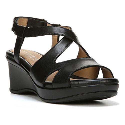 Naturalizer Womens Villette Leather Open Toe Casual Slingback Sandals Strappy Open Toe Wedges