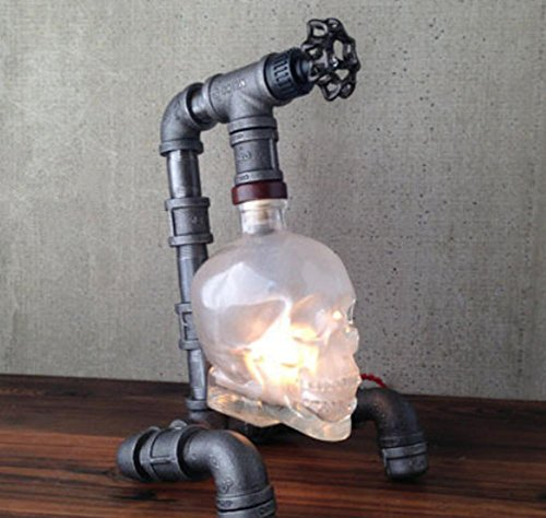 HHORD Persönlichkeit kreative Wasser Pfeife bar Wand Lampe modernen einfachen Outdoor-Retro-Industrie Wind Schädel Kopf Wein Flasche Lampe (Wein-flaschen-licht-buchse)