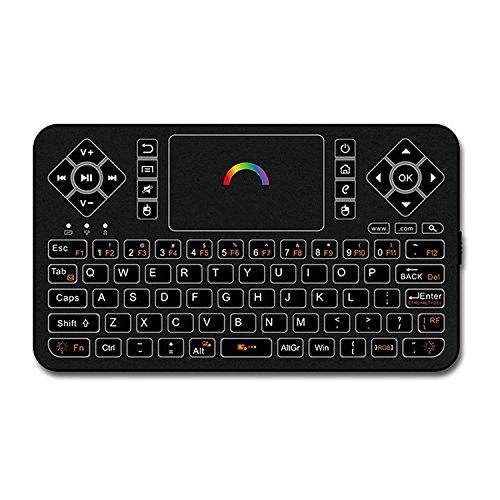 Best Wireless Tastatur mit Touchpad Maus –, Q92,4GHz Bunter Hintergrundbeleuchtung Mini Wireless Tastatur, Handheld-Fernbedienung für Android TV Box, Windows PC, HTPC, IPTV, Raspberry Pi, Xbox 360, PS3, PS4