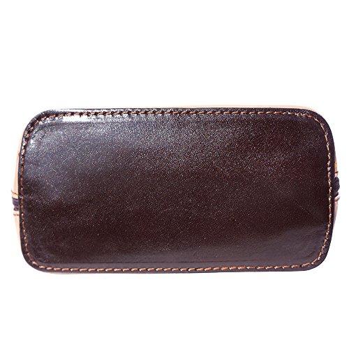 Mini Umhängetasche Dalida für Damen aus poliertem Leder Handtasche klein aus Italien Ledertasche Abendtasche Partytasche Freizeittasche Licht Taube/Dunkelbraun