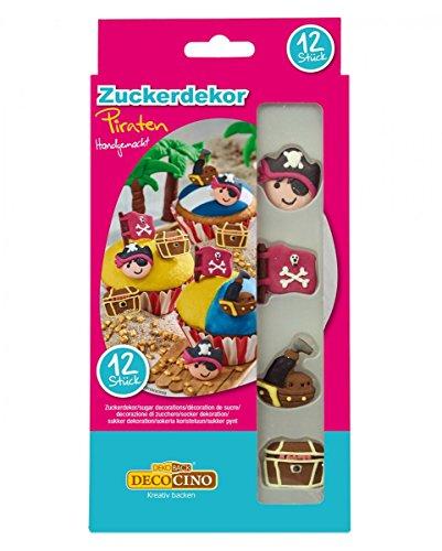 Horror-Shop 12 Essbare Piraten-Motive als Dekoration für Muffins & ()