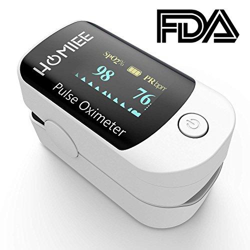 HOMIEE Finger Pulsoximeter,Oximeter Digitaler rotierenden OLED Bildschirm Messen Sauerstoffgehalt im Blut SpO2, Finger Herz Sauerstoffsättigung Herzf...
