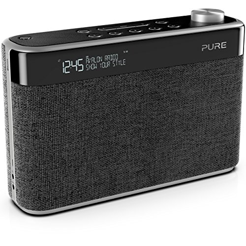 Pure Avalon N5 Bluetooth Digitalradio (DAB/DAB+ und UKW Radio mit Bluetooth, Pop-Taste zur Lautstärkeregelung, Weckfunktionen, Küchen- und Sleep-Timer, 10 Senderspeicherplätze, AUX), Kohle