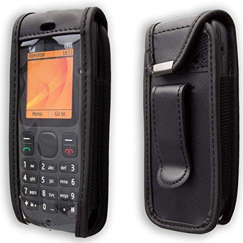 caseroxx Handy-Tasche Ledertasche mit Gürtelclip für Nokia 100/101 aus Echtleder, Handyhülle für Gürtel (mit Sichtfenster aus schmutzabweisender Klarsichtfolie in schwarz) 101 Tasche
