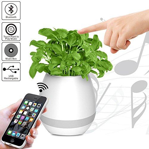 Musik Blumentopf Bluetooth-Lautsprecher - AINATU Smart Touch Piano Musik Spielen wiederaufladbar per USB Blumentöpfe mit Nachtlicht für Office, Home Decor, Spielzeug für Kinder (weiß)
