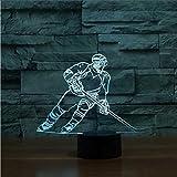 Lampada da giocatore di Hockey su ghiaccio LED 3D per regalo per bambini