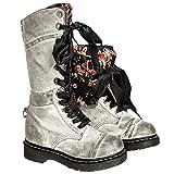 BHYDRY Schuhe Damen Stickerei Reiten Stiefel SchnüRen Flache Schuhe Retro Schuhe Mittelstiefel Rutschfest Runder Zeh SchnüRen Martin Stiefel