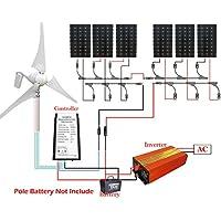 ECO-WORTHY 1300W vento solare Off Gird Sistema Kit Carica Batteria 24V: Generatore di vento 400W + 6150W Pannelli solari + ibrida turbina Controller + 1,5kW Inverter per la ricarica in PV casa, auto, barca, Caravan Camper Business