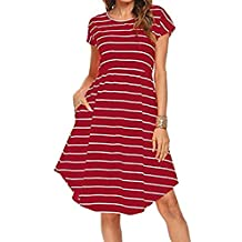Ladies Tunic Knee Length Dress, Kanpola Women's Summer Casual Short Sleeve Elastic Waist Striped Beach Midi Dress With Pockets