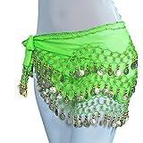 YouPue Tribal Ceinture de Danse Orientale Belly Dance pièces dorées danse du ventre Foulard le style de la mode Vert foncé